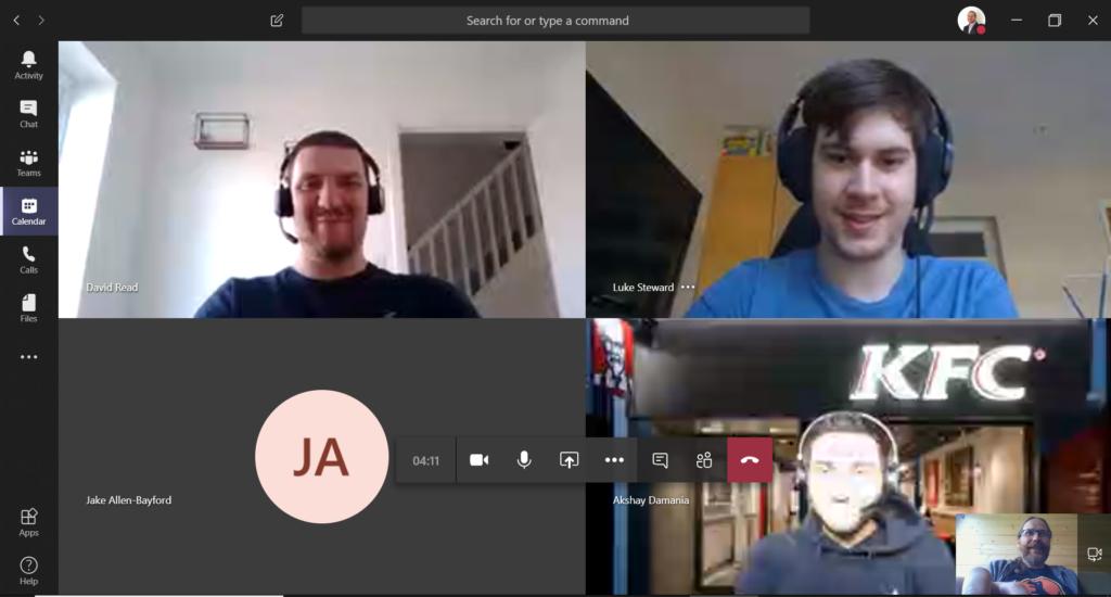 Some of the Shadowfax Team having a Microsoft Teams meeting.